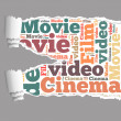 Torn Paper with movie info-text graphics — Stock Photo