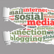 Torn Paper with social media info-text graphics — Stock Photo