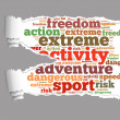 Torn Paper with extreme sport info-text graphics — Stock Photo