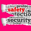 Torn Paper with safety info-text graphics — Stock Photo