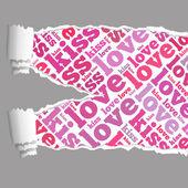撕的纸的爱的信息文本图形 — 图库照片