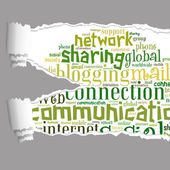 Torn księga z komunikacji graficznej informacji tekst — Zdjęcie stockowe