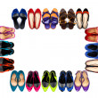 Multicolored female shoes frame-1 — Stock Photo #12539712