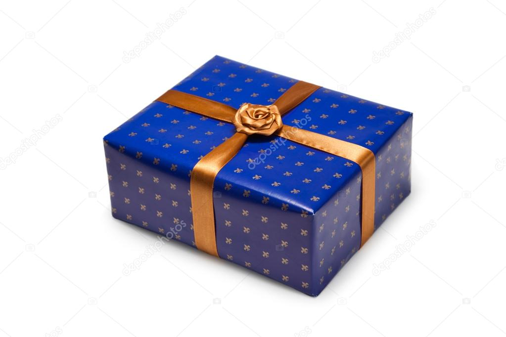 Gift box with bow and ribbon on white background  Stock Photo #16021567