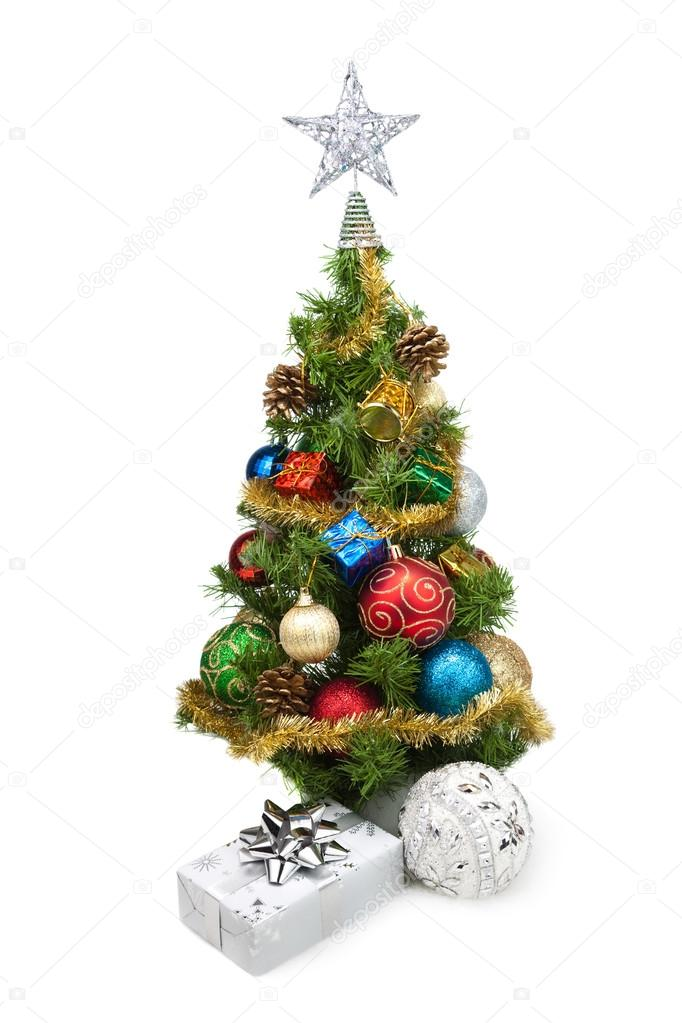 Christmas tree and gift boxes on a white background — Stock Photo #16836001