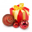 Christmas balls&gift box-3 — Stock Photo