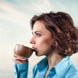 Girl with cup — Stock Photo #18312535