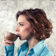Girl with cup — Stock Photo
