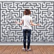 Girl before a labyrinth — Stock Photo