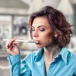 Girl with a spoon — Stock Photo