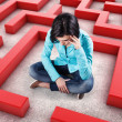 Girl in a labyrinth — Stock Photo