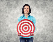 Girl with a target — Stock Photo