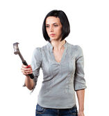 Girl with a hammer — Stock Photo