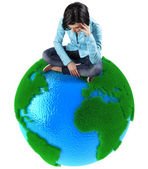 Girl on the planet — Stock Photo