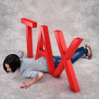 Girl under tax — Stock Photo #32130427