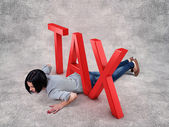 Girl under tax — Stock Photo