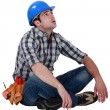 Tired builder taking well earned break — Stock Photo