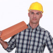 Roofer about to replace tiles - Stock Photo