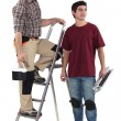 Two decorator stood with step-ladder — 图库照片