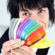 Woman with multi colored zippers — Stock Photo