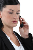 Pensive call-center worker — Foto Stock