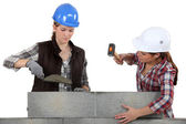 A team of tradeswomen laying cinder blocks — Stock Photo