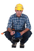 Worker with circular saw — Stock Photo