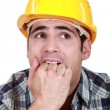 Stock Photo: Frightened builder