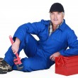 Stock Photo: A mature plumber