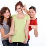 Three funny female friends — Stock Photo