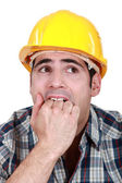 Frightened builder — Stock Photo