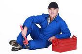 A mature plumber — Stock Photo
