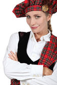 Woman in Scottish costume — Stock Photo