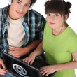 Teens with computer - Foto Stock