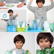Collage of a boy recycling — Foto Stock
