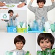 Collage of a boy recycling — 图库照片