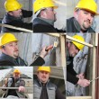 Stock Photo: Montage of builder working on housing project