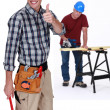 Stock Photo: Thumbs up from builder