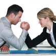 Stock Photo: Executive arm wrestling.