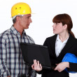 Craftsman and businesswoman having a discussion — Stock Photo