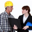 Craftsman and businesswoman having a discussion - Stock Photo