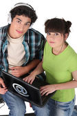 Teens with computer — Stock Photo