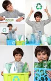 Collage of a boy recycling — Stock Photo