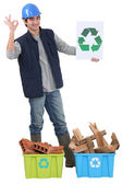 Construction worker recycling — Stock Photo