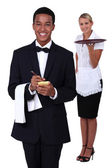 Waiter and waitress — Stock Photo