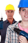 Man and woman with drills — Foto de Stock