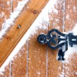 Stock Photo: Snow covered door