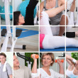 Collage illustrating a gym session — Stock Photo