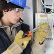 Stock Photo: Young electriciworking on fuse box