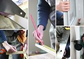 Montage of man fitting a new window — Stock Photo